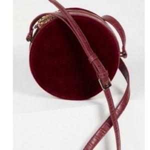 Free People Maroon Velvet  Circular Bag